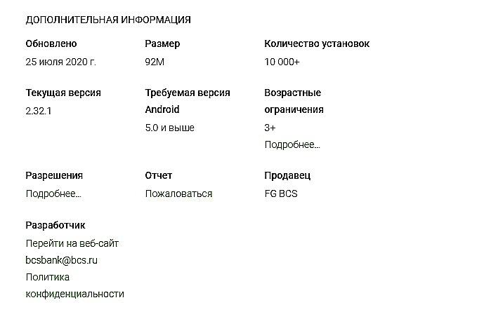 Информация о приложении БКС банк